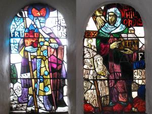 H. Ansfridus en zijn vrouw H. Hilsondis op ramen van de abdijkerk in Thorn