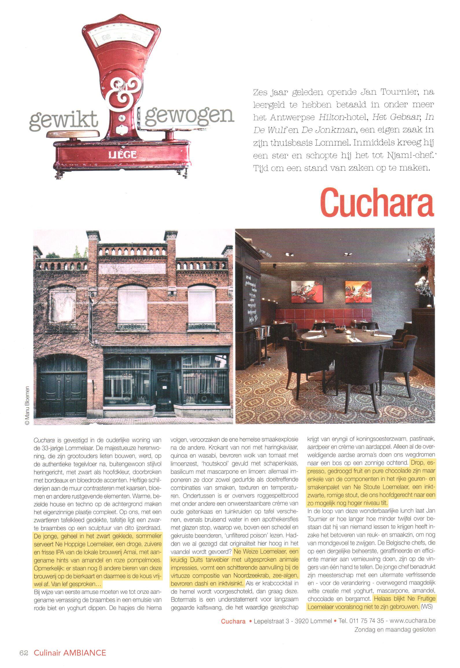 Artikel in Culinaire Ambiance nr. 4 mei 2015